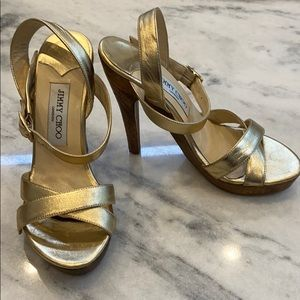 Jimmy Choo Gold Sandals Size 37
